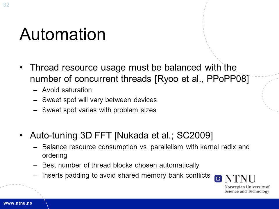 Automation Thread resource usage must be balanced with the number of concurrent threads [Ryoo et al., PPoPP08]